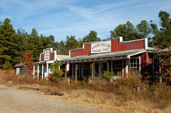 Arkansas' Booger Hollow. Once a landmark business, Booger Hollow Trading Post is closed.  Fall leaves and weeds close in on this once popular stopping place Stock Photo