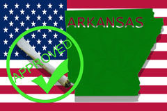 Arkansas on cannabis background. Drug policy. Legalization of marijuana on USA flag, Stock Photos