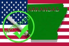 Arkansas on cannabis background. Drug policy. Legalization of marijuana on USA flag, Stock Photos