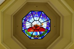 Arkansas College stained glass window. Lyon College, a Presbyterian liberal arts school in Batesville, Arkansas was once known a Arkansas College. It competed stock photos