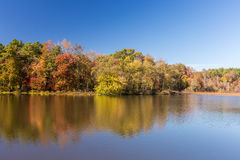 Arkansas fall landscape and lake in Petit Jean state park Royalty Free Stock Image