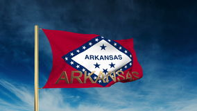 Arkansas flag slider style with title. Waving in stock footage