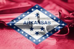 Arkansas flag U.S. state Gun Control USA. United States. Gun Laws Stock Images