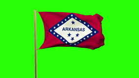 Arkansas flag waving in the wind. Green screen. Alpha matte. Loops animation stock video footage