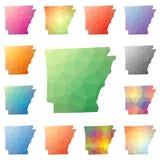 Arkansas geometryczny poligonalny, mozaika styl my Zdjęcie Royalty Free