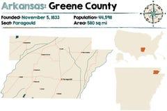 Arkansas, Greene okręg administracyjny mapa Obrazy Royalty Free