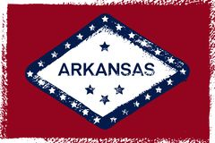 Arkansas Grungeflagga Amerikansk stat Textur bakgrund, affisch stock illustrationer