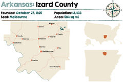 Arkansas, Izard okręg administracyjny mapa Fotografia Stock