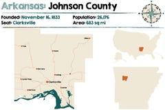 Arkansas, Johnson okręg administracyjny mapa Fotografia Stock