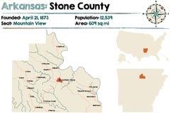 Arkansas, Kamienna mapa okręg administracyjny Zdjęcie Stock