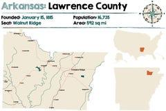Arkansas, Lawrance okręg administracyjny mapa Fotografia Royalty Free