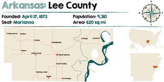 Arkansas, Lee county map. Large and detailed map of Arkansas - Lee county Royalty Free Stock Photos