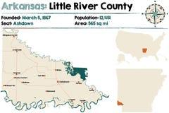 Arkansas, Little River county map stock illustration
