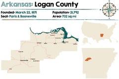 Arkansas, Logan okręg administracyjny mapa Obraz Royalty Free