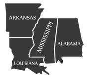 Arkansas, Luizjana, Mississippi, Alabama mapa przylepiający etykietkę czerń - - Zdjęcia Stock