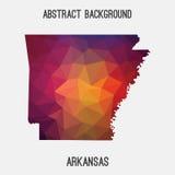 Arkansas mapa w geometryczny poligonalnym, mozaika styl ilustracja wektor