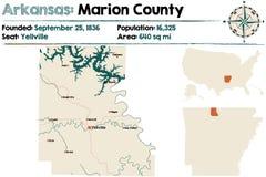Arkansas, Marion okręg administracyjny mapa Obrazy Stock