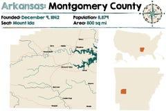 Arkansas, Mongomery okręg administracyjny mapa ilustracji