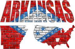 Arkansas na ściana z cegieł Fotografia Royalty Free