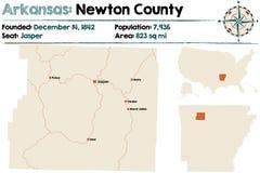 Arkansas, newtonu okręg administracyjny mapa Zdjęcia Royalty Free