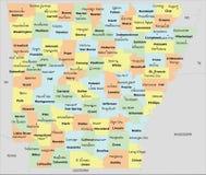 Arkansas okręgu administracyjnego mapa Zdjęcie Royalty Free