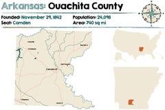 Arkansas, Ouachita okręg administracyjny mapa Obrazy Stock