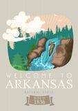 Arkansas podróży amerykański sztandar Naturalny stan ilustracji