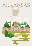 Arkansas podróży amerykański sztandar Plakat w Retro stylu little rock ilustracja wektor