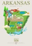 Arkansas podróży amerykański sztandar Plakat z Arkansas krajobrazami w rocznika stylu ilustracja wektor
