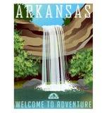 Arkansas podróży majcher lub plakat ilustracja wektor