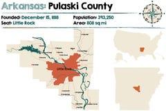 Arkansas, Pulaski okręg administracyjny mapa Zdjęcie Royalty Free