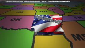 Arkansas pull out from USA states abbreviations map. State Arkansas pull out from USA map with american flag on background. A map of the US showing the two stock footage