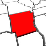 Arkansas Red Abstract 3D State Map United States America. A red abstract state map of Arkansas, a 3D render symbolizing targeting the state to find its outlines Stock Image