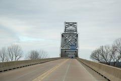Arkansas river bridge two lane hiway. Sign on bridge welcome to Arkansas Royalty Free Stock Photos