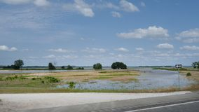 Arkansas River Flooding spring of 2019, Downstream of the Robert S. Kerr Lock and Dam, water covers fields stock photos