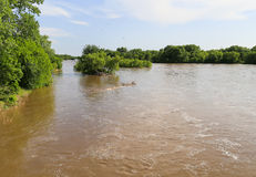 Arkansas River with High Water. The Arkansas River near Mulvane, Kansas, with high water due to heavy rain Stock Photos