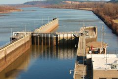 Arkansas River Ship Lock Royalty Free Stock Photos