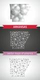 Arkansas-Satz Grau und polygonale Karten des Silbermosaiks 3d Lizenzfreie Stockbilder
