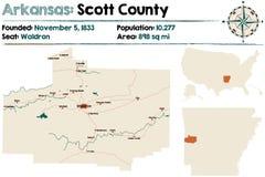 Arkansas, Scott okręg administracyjny mapa Zdjęcie Stock
