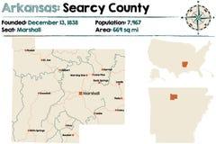 Arkansas, Searcy okręg administracyjny mapa Fotografia Royalty Free