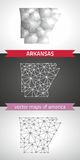 Arkansas set of grey and silver mosaic 3d polygonal maps Royalty Free Stock Images