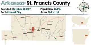 Arkansas, St Francis okręg administracyjny mapa Zdjęcia Stock