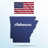 Arkansas stan z cieniem z usa falowania flaga Zdjęcia Royalty Free