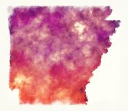 Arkansas stanu usa akwareli mapa przed białym tłem ilustracja wektor