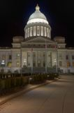 Arkansas State Capitol Dome Exterior. Night shot of the Arkansas State Capitol Building in Little Rock Royalty Free Stock Photo