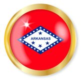 Arkansas Flag Button. Arkansas state flag button with a gold metal circular border over a white background Stock Images