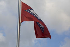 Arkansas State Flag. Close up of the Arkansas state flag billowing in the wind stock photo