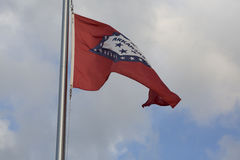 Arkansas State Flag. Close up of the Arkansas state flag billowing in the wind royalty free stock photos