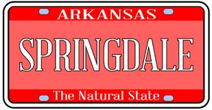 Arkansas State License Plate With  City Springdale Royalty Free Stock Image