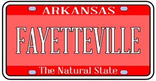 Arkansas State License Plate With  City Fayetteville Royalty Free Stock Photography